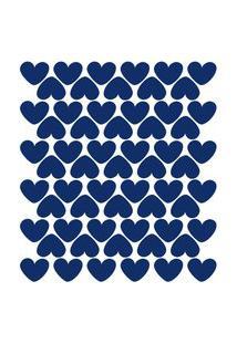Adesivo De Parede Infantil Corações Azul Royal 55Un