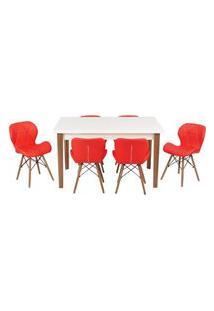 Conjunto Mesa De Jantar Luiza 135Cm Branca Com 6 Cadeiras Slim - Vermelho