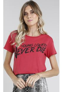 "Blusa Feminina ""Young Lovers"" Manga Curta Decote Redondo Vermelha"