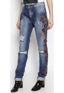 Jeans Boyfriend Com Bordados - Azul Escuro & Laranjalança Perfume