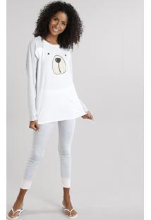 Pijama Feminino Urso Raglan Com Manga Longa Cinza Mescla Claro