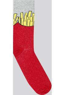 Meia Masculina Divertida Batata Frita Cano Longo Vermelha