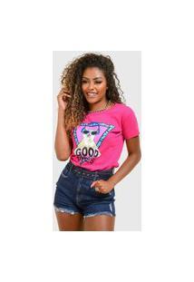 T-Shirt De Algodáo Good Vibes Rosa