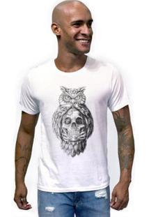 Camiseta Joss Caveira Coruja Masculina - Masculino-Branco