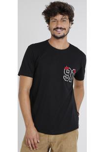 Camiseta Masculina Com Bordado De Rosa Manga Curta Gola Careca Preta