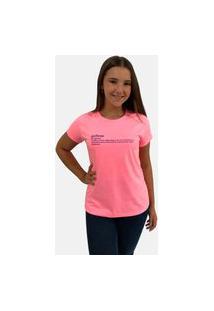 T-Shirt Camiseta Feminina Girlboss Manga Curta Rosa Neon