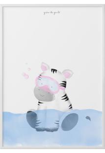 Quadro Amiguinha Zebra No Banho 40Cm Grão De Gente Cinza
