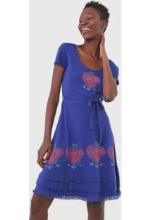 Vestido Desigual Curto Coração Azul
