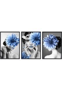 Quadro 60X120Cm Helga Mulher Com Flores Azuis Moldura Preta Com Vidro
