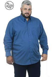 Camisa Plus Size Bigshirts Manga Longa Dubai - Azul Escuro