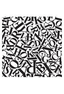 Papel De Parede Preto E Branco Letras Types 57X270Cm