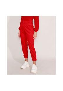 Calça Jogger Com Linho E Cinto Alfaiataria Cintura Super Alta Vermelha