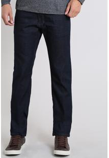 Calça Jeans Masculina Reta Com Pespontos Azul Escuro