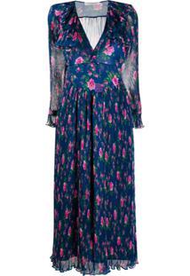 Philosophy Di Lorenzo Serafini Floral Print Pleated Dress - Azul