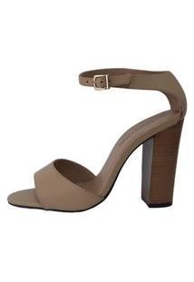 Sandália Couro Sapatos E Botas Salto Alto Bloco Caramelo