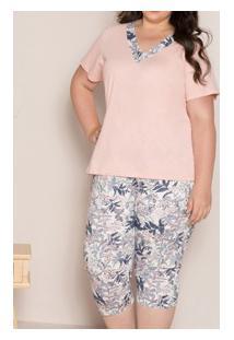 Pijama Capri Floral 100% Algodão Pzama (90009) Plus Size