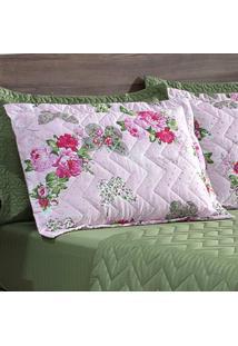 Porta Travesseiro Matelasse 260 Fios Zig Zag Butterfly Rose