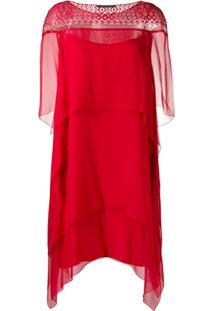 Alberta Ferretti Vestido Com Amarração - Vermelho