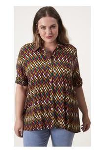 Camisa Estampada Colorida Curve & Plus Size