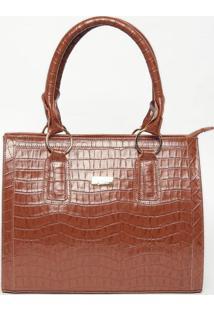 Bolsa Em Couro Com Textura Animal- Marrom Claro- 25Xjavali