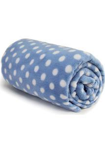 Cobertor Baby Poá- Azul & Branco- 90X110Cm- Camecamesa
