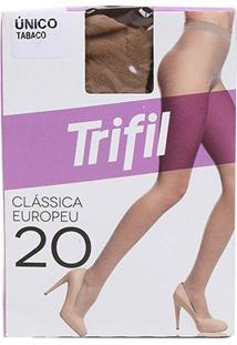 Meia Calça Trifil Fio 20 Europeu Feminina - Feminino-Marrom Escuro