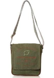Bolsa Blue Bags Tiracolo Reciclada Bordado Água Feminina - Feminino-Verde+Marrom