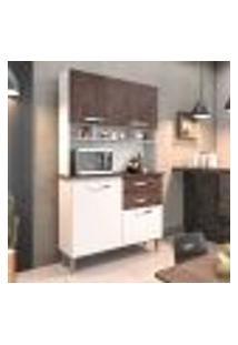 Cozinha Compacta Brenda 4 Pt 2 Gv Branca E Marrom Escuro
