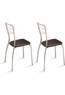 Conjunto Com 2 Cadeiras Aramada Vinil Cacau & Crom