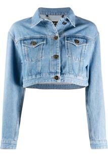 Elisabetta Franchi Cropped Rear Print Jacket - Azul
