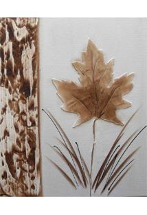 Quadro Artesanal Com Textura Folha Marrom 40X50Cm Uniart