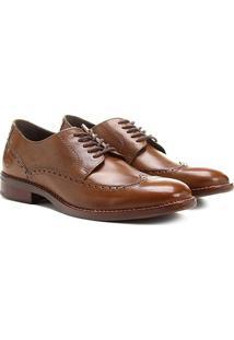 Sapato Casual Couro Democrata Seleto Brogues - Masculino-Marrom Claro