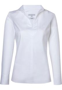 Camisa Ml Fem Cetim Maq Sem Vista (Branco, 42)