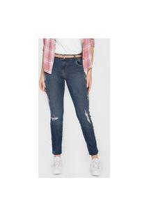 Calça Jeans Colcci Skinny Destroyed Azul