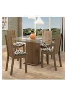 Conjunto Sala De Jantar Madesa Maya Mesa Tampo De Vidro Com 4 Cadeiras Rustic/Bege Marrom