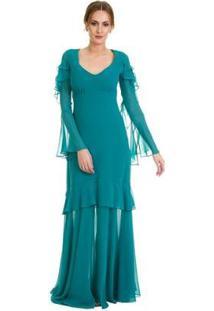Vestido Izad Musseline Mangas Longas Boca De Sino - Feminino-Verde Escuro