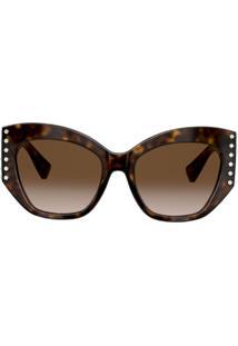Valentino Eyewear Óculos De Sol Gatinho Tartaruga Com Aplicações - Marrom