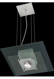 Pendente Saturno Aluminio E Vidro Lmq 132 Escovado Transparente Bivolt