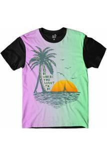 Camiseta Long Beach Aloha Surfista Sublimada Masculina - Masculino-Verde Claro+Preto