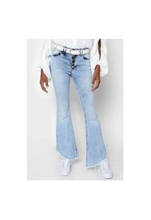 Calça Jeans Zune Flare Desfiada Azul