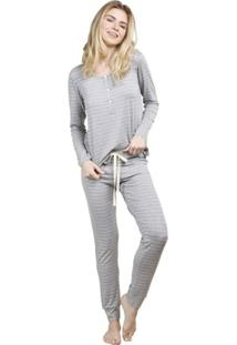 Pijama Inspirate Inverno Listrado Feminino - Feminino-Mescla
