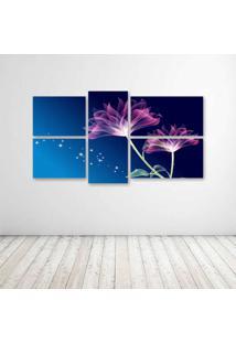 Quadro Decorativo - Beautiful Pink Animation With Blue Background - Composto De 5 Quadros - Multicolorido - Dafiti