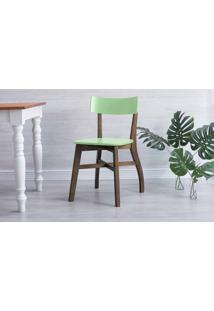 Cadeira De Madeira Para Cozinha Bella Capuccino E Verde Sálvia 44X51X82 Cm