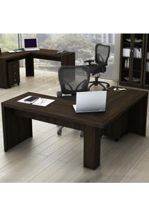 Mesa Para Escritório Angular Rústico Me4116 - Tecno Mobili
