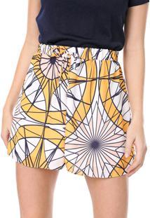 Bermuda My Favorite Thing(S) Reta Estampada Branco/Amarelo