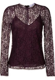 Givenchy Blusa Com Renda Floral - Roxo