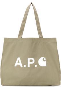 A.P.C. Bolsa Tote Shopping Com Estampa De Logo - Verde