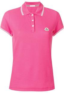 Moncler Camisa Polo Acabamento De Listras - Rosa