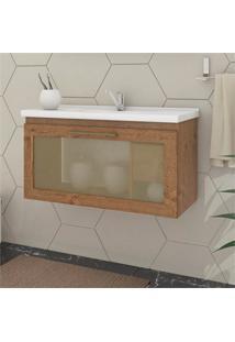 Gabinete Suspenso Para Banheiro Hibisco 44X79,3Cm Amêndoa