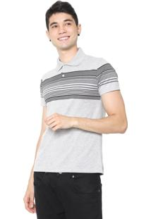 Camisa Polo Malwee Slim Listras Cinza